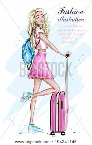 Fashion girl with suitcase. Stylish blonde hair woman in fashion clothes. Sketch. Travel set. Vector illustration.
