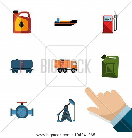 Flat Icon Fuel Set Of Petrol, Van, Flange And Other Vector Objects. Also Includes Van, Boat, Transport Elements.