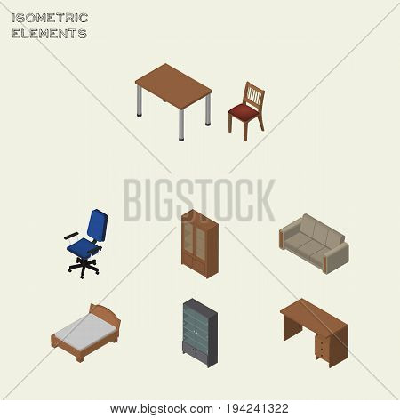 Isometric Furniture Set Of Office, Sideboard, Bedstead And Other Vector Objects. Also Includes Sofa, Bedstead, Sideboard Elements.