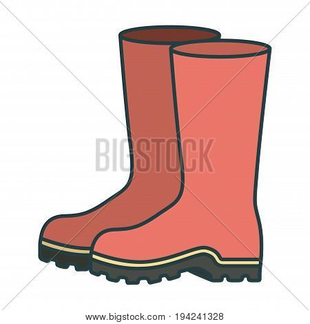 colorful silhouette of fishing plastic boots accesory with thick contour vector illustration