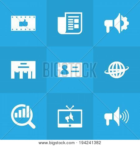 Set Of 9 Commercial Icons Set.Collection Of Inbox, Journal, Ads And Other Elements.