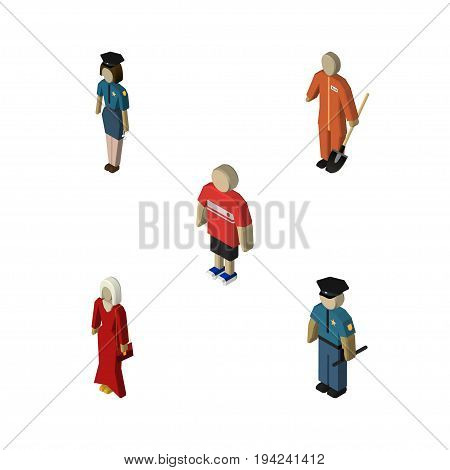 Isometric Human Set Of Cleaner, Female, Policewoman And Other Vector Objects. Also Includes Policewoman, Builder, Man Elements.