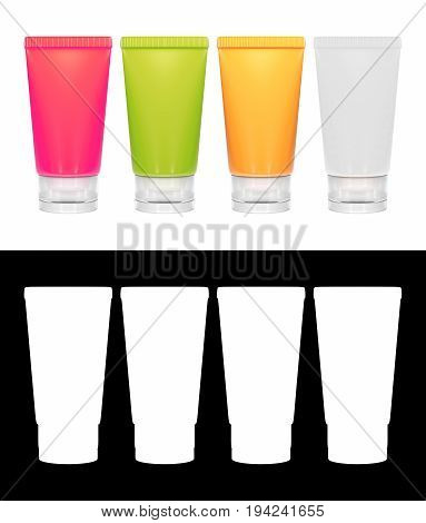 3D rendering of a set of Lotion tubes in various colors with alpha channel section for easy to cut out a background.