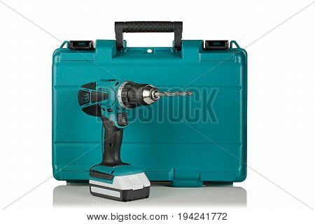cordless drill on the background of the case