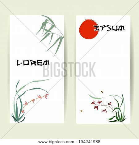 Two templates of vertical banners. Backgrounds of wild orchid, branches and bamboo leaves, red sun, flying bumblebee. Traditional Chinese painting, Japanese art sumi-e, vector stylization