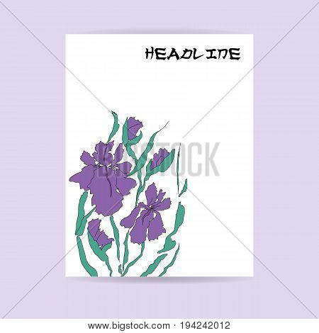 Flyer design. Letter format. Illustration with hand-drawing illustration, vectorized irises. Stylized traditional Chinese painting, Japanese art sumi-e, vector