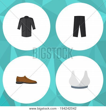 Flat Icon Garment Set Of Uniform, Pants, Male Footware And Other Vector Objects. Also Includes Footware, Kimono, Shoe Elements.