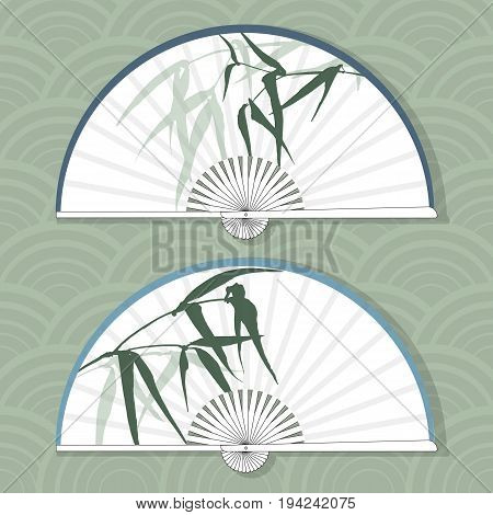 Vector illustration of two Asian folding paper fans. Illustration with hand-drawing ink illustration. Branches and bamboo leaves traditional Chinese painting, Japanese art sumi-e