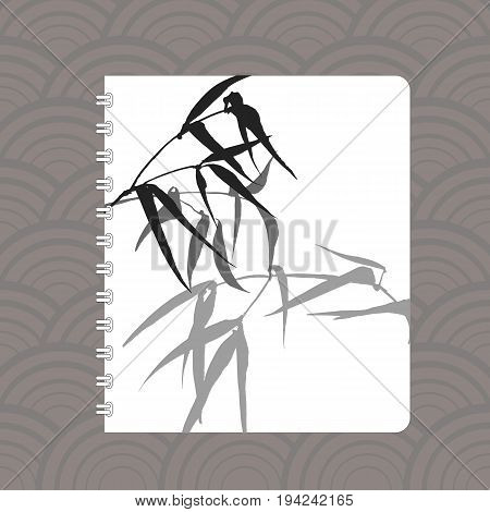 Notebook cover design with the image of hand-drawing ink illustration. Branches and bamboo leaves. traditional Chinese painting, Japanese art sumi-e, vector