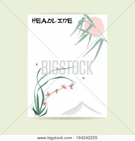 Flyer design. Letter format. Hand-drawing ink illustration. Background of wild orchid, branches and bamboo leaves, red sun, mountain, flying bumblebee. Traditional Chinese painting, Japanese art sumi-e, vector stylization
