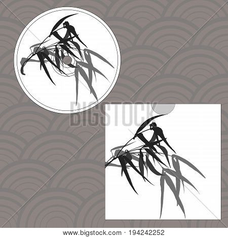 CD cover design. Hand-drawing illustration. Branches and bamboo leaves. traditional Chinese painting, Japanese art sumi-e, vector