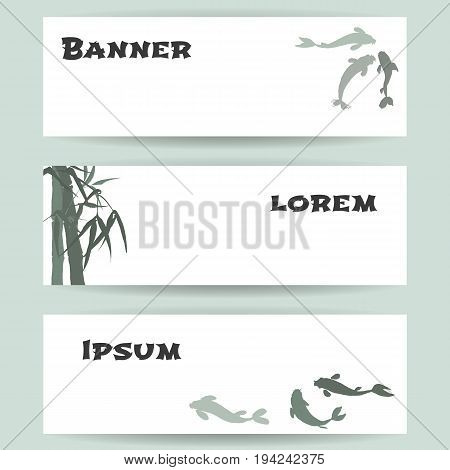 Three templates of horizontal banners. Hand-drawing ink illustration. Koi carps, branches and bamboo leaves. traditional Chinese painting, Japanese art sumi-e, vector