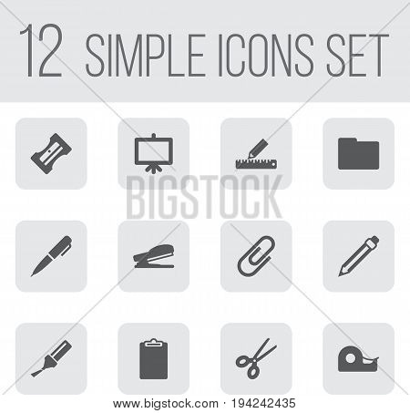 Set Of 12 Tools Icons Set.Collection Of Folder, Pencil, Puncher And Other Elements.