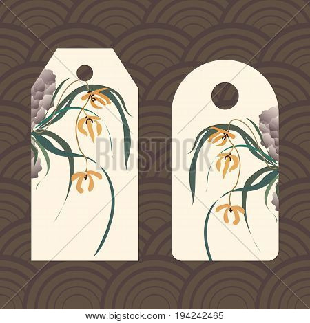 Label, badge, price tag. Wild orchid growing on stones. Traditional Chinese painting, Japanese art sumi-e, vector stylization