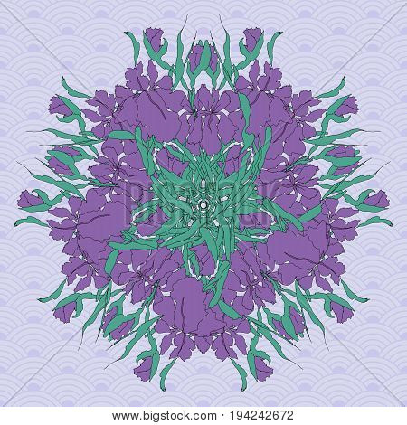 Vector background, mandala. Floral round pattern with hand-drawing irises
