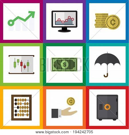 Flat Icon Gain Set Of Counter, Parasol, Cash And Other Vector Objects. Also Includes Beach, Diagram, Chart Elements.
