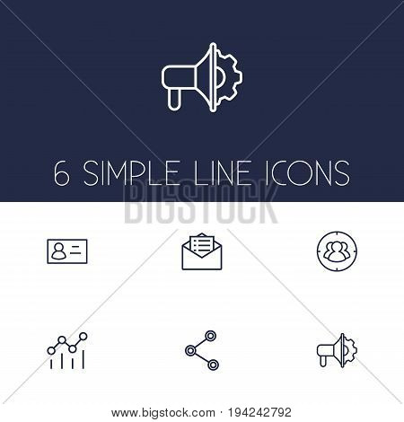 Set Of 6 Trade Outline Icons Set.Collection Of Business Card, Advertising Agency, Social Media Ads And Other Elements.