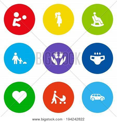 Set Of 9 People Icons Set.Collection Of Rocking Chair, Perambulator, Father With Son And Other Elements.