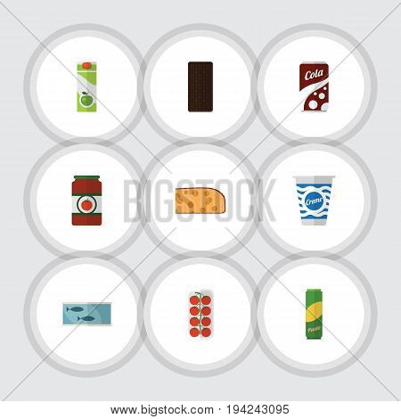 Flat Icon Food Set Of Yogurt, Fizzy Drink, Confection And Other Vector Objects. Also Includes Bar, Tuna, Packet Elements.