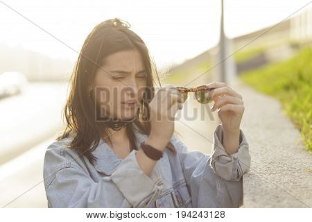 Stylish Hipster Girl And Her Sunglasses, Outdoors.