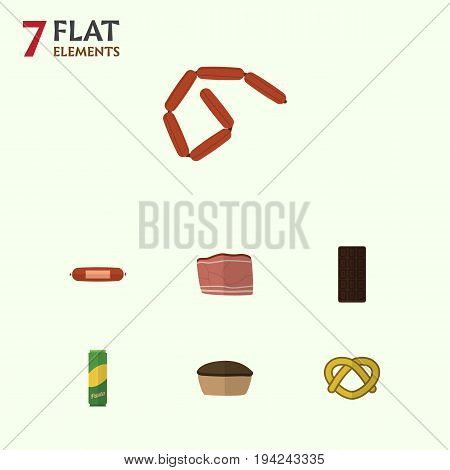 Flat Icon Food Set Of Bratwurst, Kielbasa, Spaghetti And Other Vector Objects. Also Includes Meat, Bratwurst, Bar Elements.