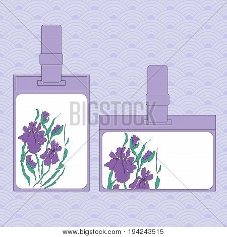 Event staff id cards with lanyard, tag holder and badge templates. Cover design with the image of vectorized irises, hand-drawing illustration. Stylized traditional Chinese painting, Japanese art sumi-e
