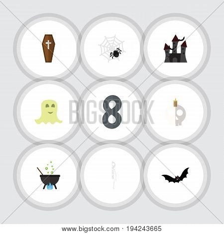 Flat Icon Festival Set Of Skeleton, Spinner, Casket And Other Vector Objects. Also Includes Ghost, Magic, Cobweb Elements.