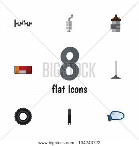 Flat Icon Parts Set Of Steels Shafts, Wheel, Absorber And Other Vector Objects. Also Includes Absorber, Muffler, Engine Elements.
