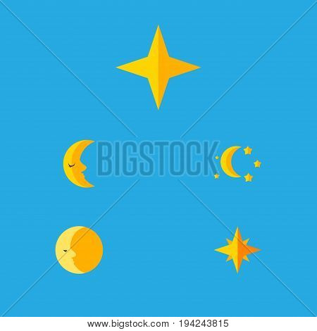 Flat Icon Bedtime Set Of Bedtime, Star, Asterisk And Other Vector Objects. Also Includes Asterisk, Sky, Crescent Elements.