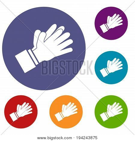 Clapping applauding hands icons set in flat circle reb, blue and green color for web