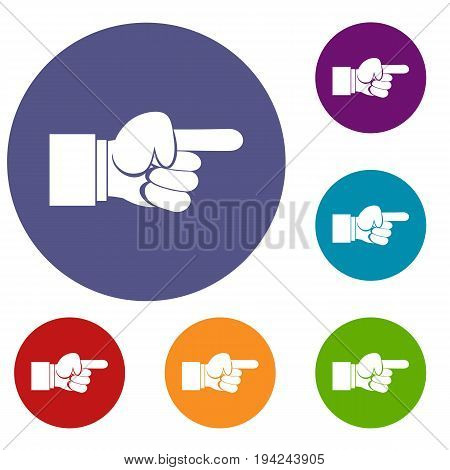 Pointing hand gesture icons set in flat circle reb, blue and green color for web