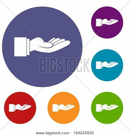 Outstretched hand gesture icons set in flat circle reb, blue and green color for web