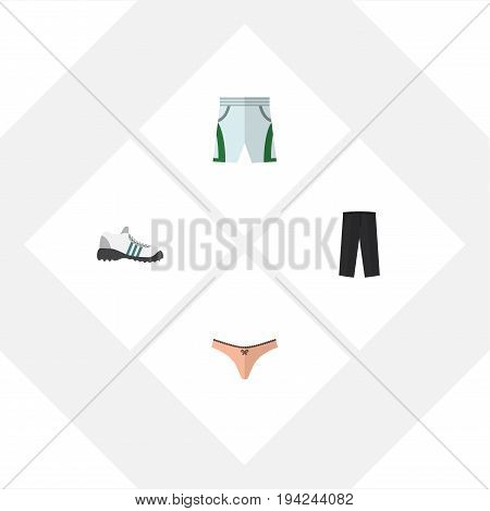 Flat Icon Clothes Set Of Trunks Cloth, Lingerie, Sneakers And Other Vector Objects. Also Includes Leggings, Cloth, Shorts Elements.
