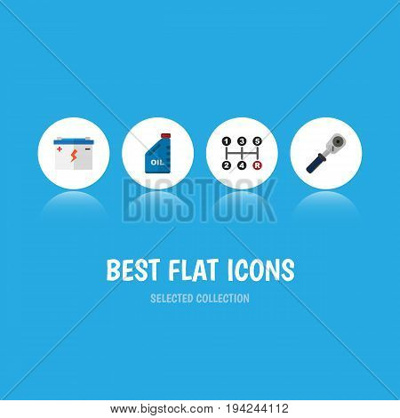 Flat Icon Workshop Set Of Petrol, Carrying, Accumulator And Other Vector Objects. Also Includes Battery, Manual, Transmission Elements.
