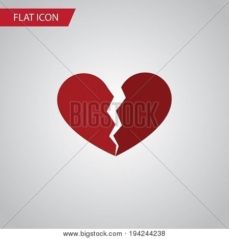 Isolated Broken Heart Flat Icon. Divorce Vector Element Can Be Used For Broken, Heart, Divorce Design Concept.