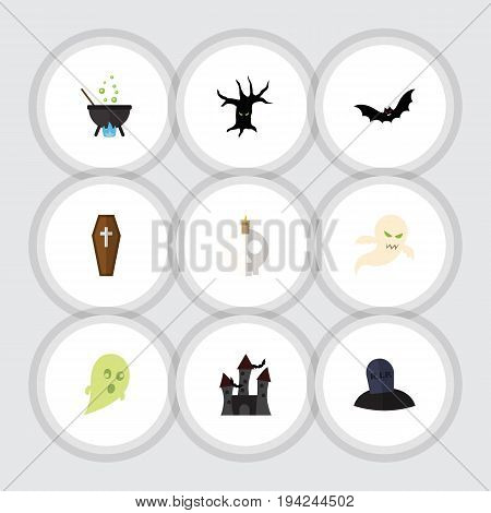 Flat Icon Halloween Set Of Fortress, Magic, Casket And Other Vector Objects. Also Includes Bat, Tree, Monster Elements.