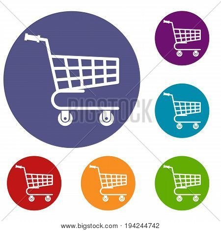 Shopping cart icons set in flat circle reb, blue and green color for web