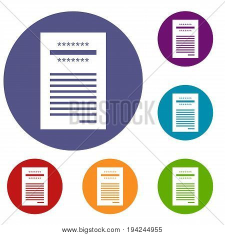 Sales printed receipt icons set in flat circle reb, blue and green color for web