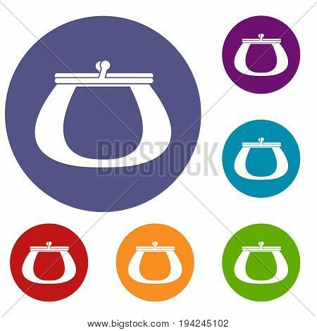 Retro purse icons set in flat circle reb, blue and green color for web