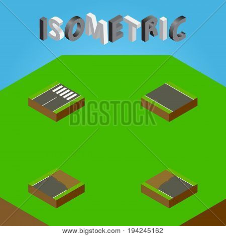 Isometric Road Set Of Incomplete, Unfinished, Footer And Other Vector Objects. Also Includes Unfinished, Strip, Incomplete Elements.