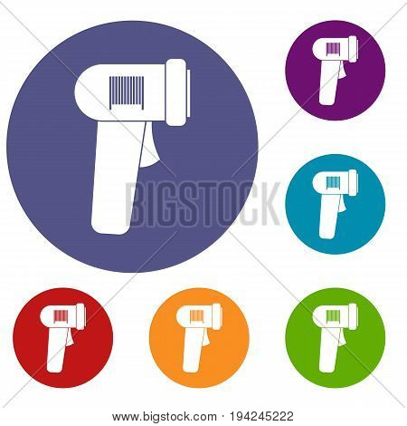 Barcode scanner icons set in flat circle reb, blue and green color for web