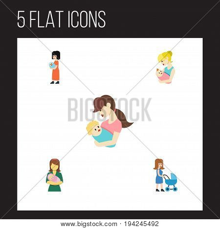 Flat Icon Mother Set Of Perambulator, Baby, Parent And Other Vector Objects. Also Includes Newborn, Woman, Mother Elements.