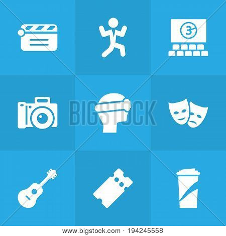 Set Of 9 Pleasure Icons Set.Collection Of Photography, Acoustic, Hall And Other Elements.