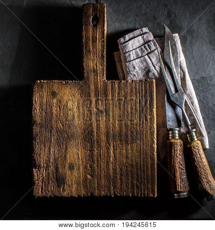 Cooking Background. Vintage Cutting Board And Cutlery