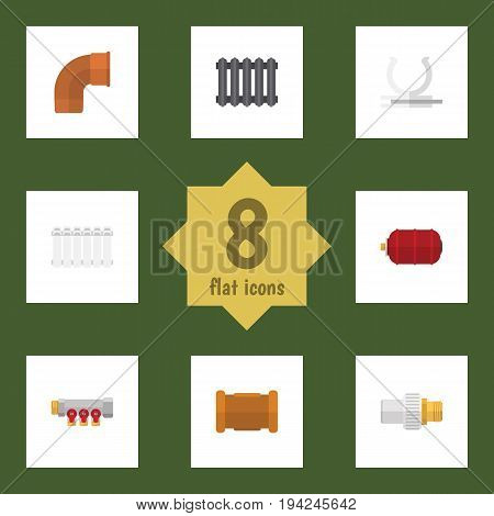Flat Icon Industry Set Of Container, Pipework, Conduit And Other Vector Objects. Also Includes Pipe, Holder, Container Elements.