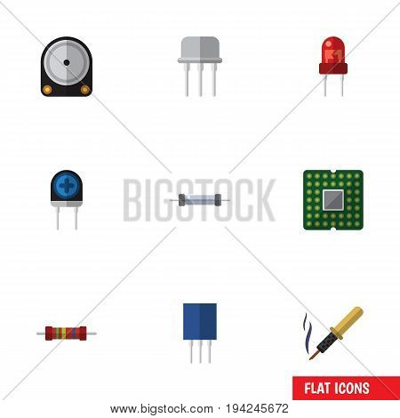 Flat Icon Technology Set Of Unit, Resistor, Receptacle And Other Vector Objects. Also Includes Hard, Copper, Processor Elements.