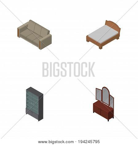 Isometric Furnishing Set Of Couch, Drawer, Sideboard And Other Vector Objects. Also Includes Bed, Couch, Cupboard Elements.