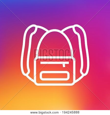 Isolated Rucksack Outline Symbol On Clean Background. Vector Backpack Element In Trendy Style.