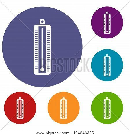 Thermometer indicates low temperature icons set in flat circle reb, blue and green color for web