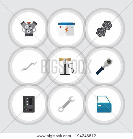 Flat Icon Workshop Set Of Accumulator, Coupler, Automobile Part And Other Vector Objects. Also Includes Battery, Door, Ratchet Elements.